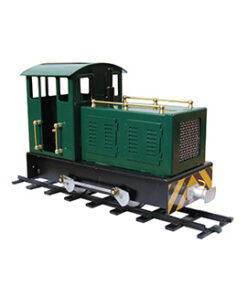 image of the boulton in colour green. mamod's first electric locomotive.